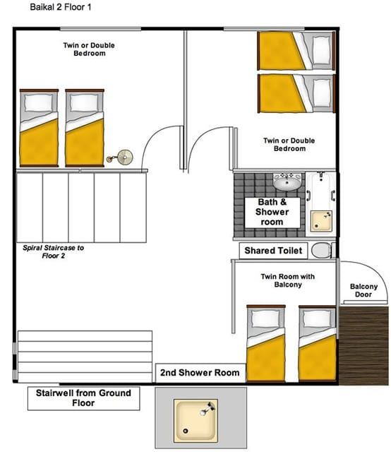 Chalet Baikal 2 floorpan from The Freeride Republic