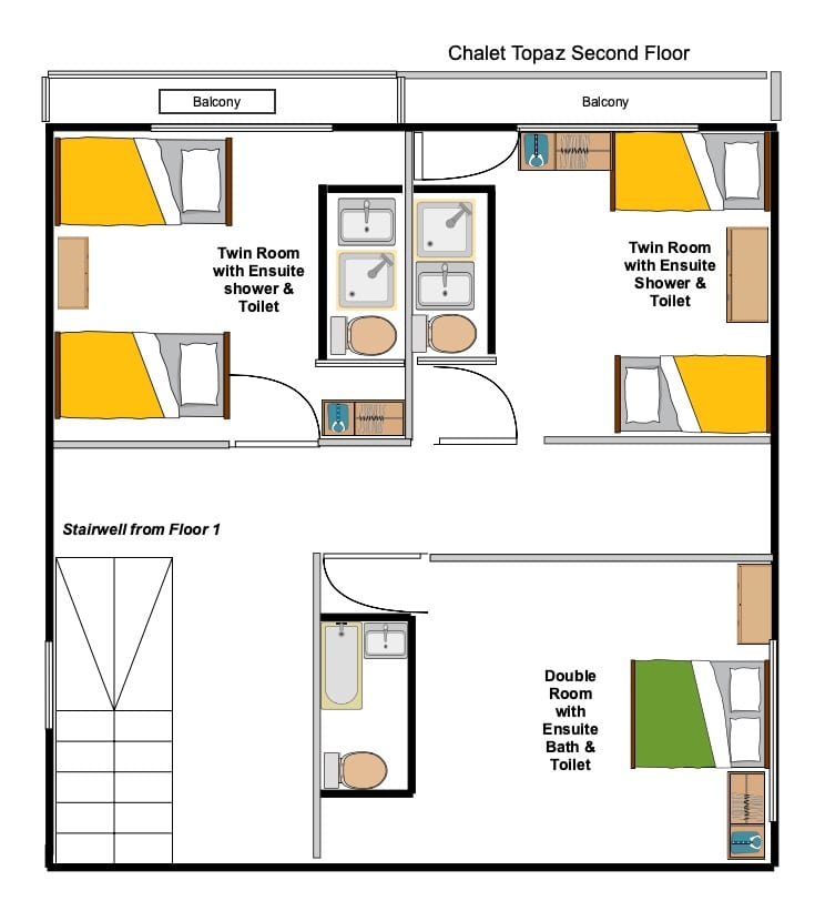 Chalet Topaz second Floor Floorplan