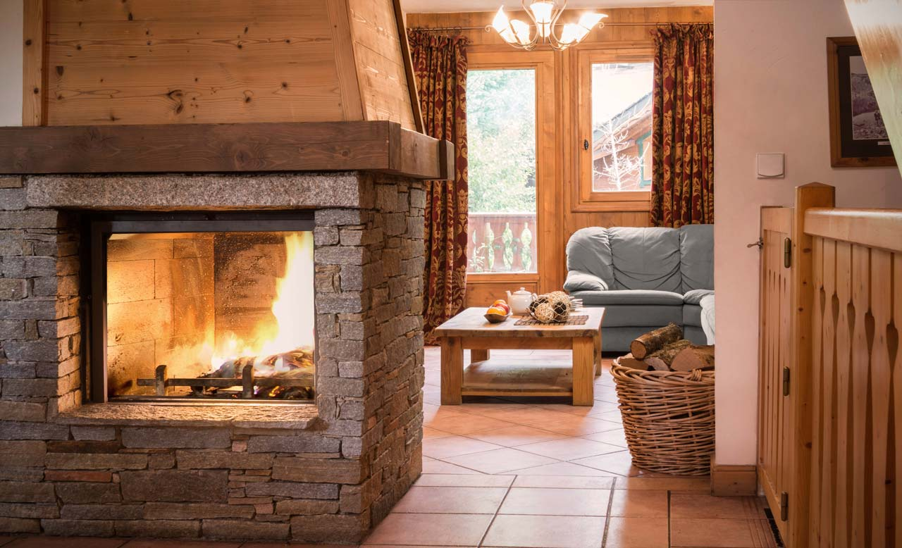 Chalet Topaz fireplace from The Freeride Republic