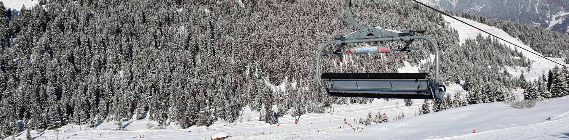 Ski Lift With Mountain And Trees In The Background