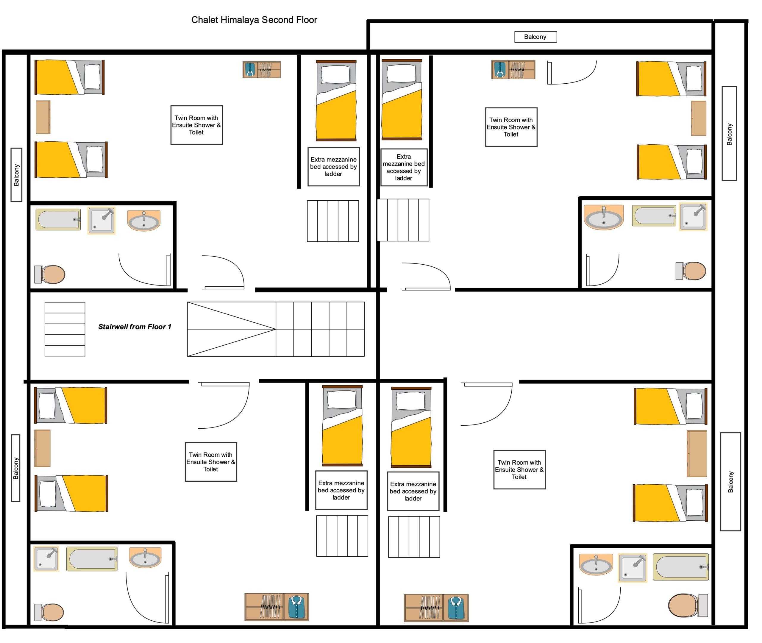 Chalet Himalaya - Second Floor Floorplan